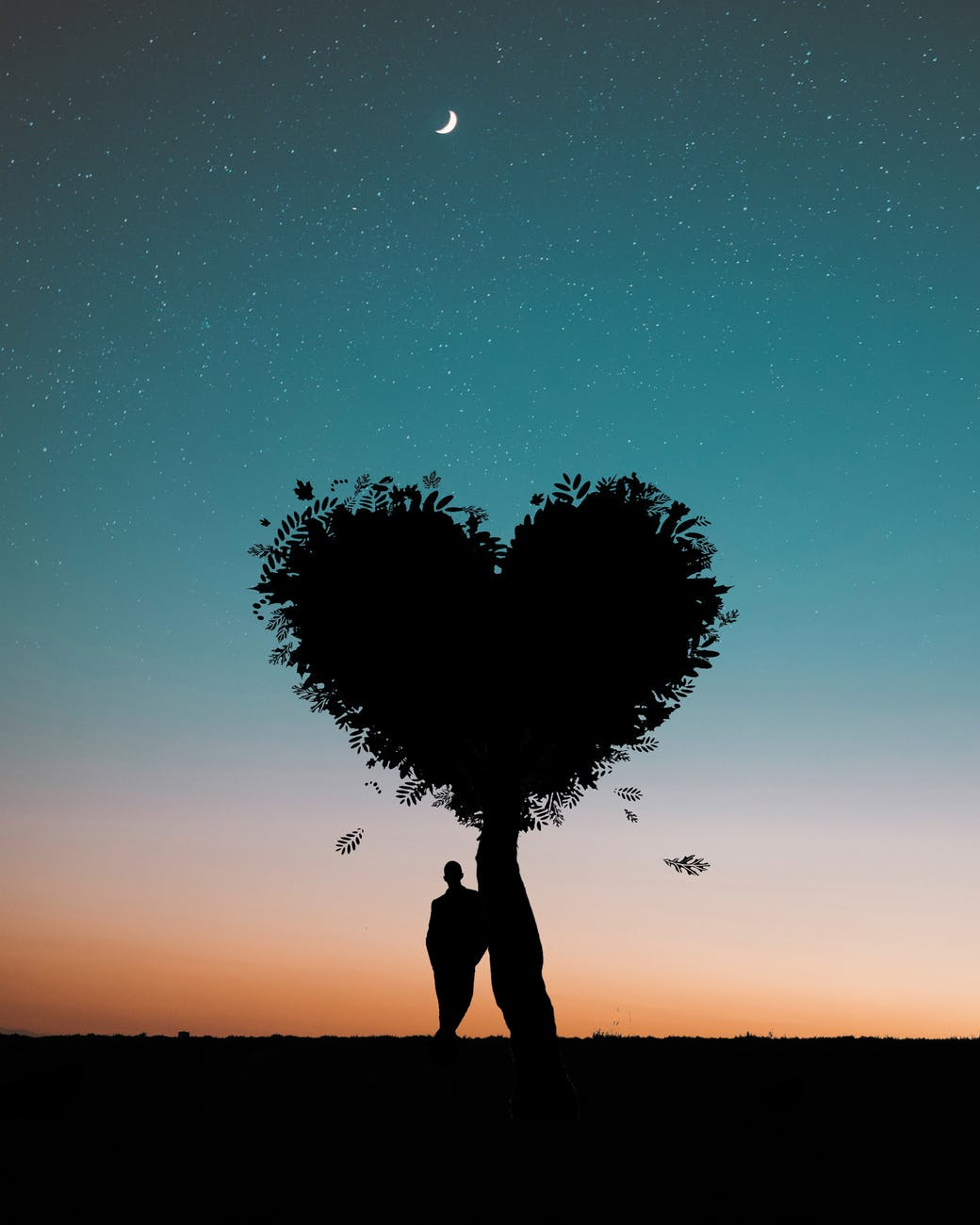 silhouette photo of man leaning on heart shaped tree